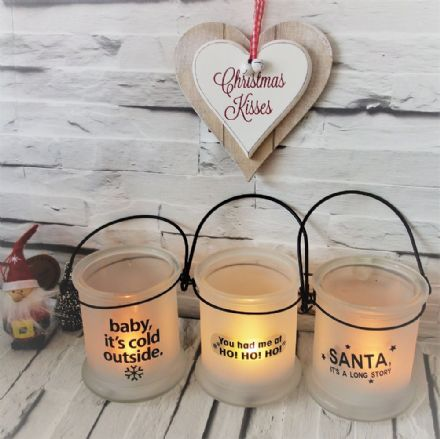 50% OFF Set Of 3 Glass Christmas Lanterns